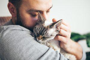 Mann kuschelt mit Katze